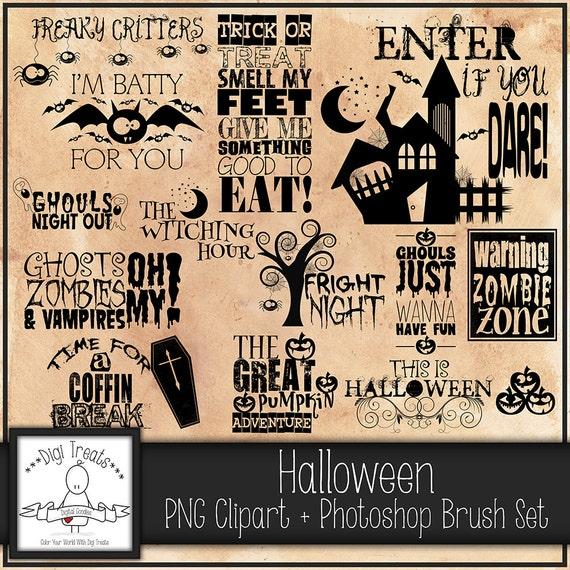 Halloween word art 50% OFF Spooky PNG Clip art Scrapbooking