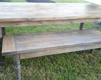 Handmade Gray and Jacobean 7 ft. Farmhouse Table and Bench