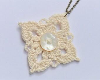 Off White Crochet Pendant