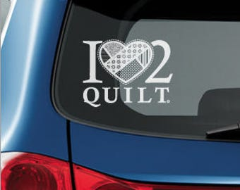 I HEART 2 QUILT decal