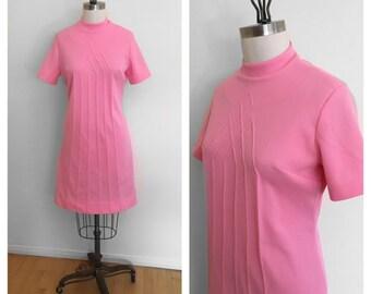 1960s Mod Dress Scooter Dress Gogo Space Age Twiggy Pink Knit Mock Neck Mini Dress Sz M