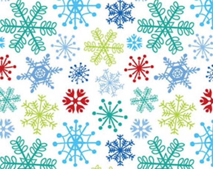 Half Yard Snow Days - Fun Flakes in Red Multi - Snowflakes - Cotton Quilt Fabric - by Mitzi Powers for Benartex Fabrics - 3657-11 (W3520)