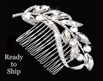 Silver Rhinestone Bridal Hair Comb, Crystal Pave Leaf Branch Wedding Hair Piece, Woodland Brides Bridesmaid Hairpiece, Vintage Hair Jewelry