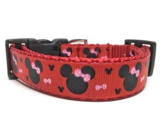 Red Minnie Disney Small Dog Collar