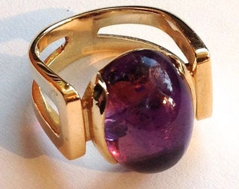Sculptural Amethyst Cabochon 14K Yellow Gold Ring Gumps Modern Architectural Design