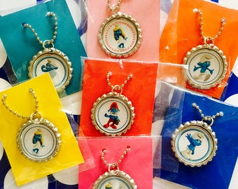 Smurf Movie 10 Qty Bottlecap Necklaces Smurf Movie Smurf Party Favors Smurf Birthday Favors Girls Party Favors Smurf Movie Party