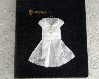 Vintage Hankie Origami Dress- White With White Buttons
