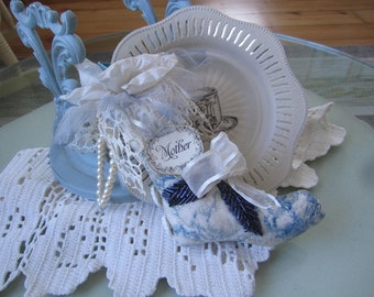 Victorian Birthday Gift for Mom - Blue Fabric Stocking - Mother Birthday