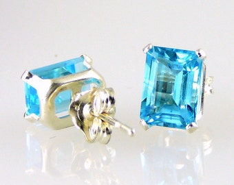Swiss Blue Topaz Emerald Cut Stud Earrings .925 SS Silver 2.40 CTW