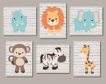 Zoo Animal Nursery Art, Jungle Animals, Safari Animals, Nursery Wall Art, Boy Nursery Art, Animal Nursery Prints, Set of 6 Prints Or Canvas
