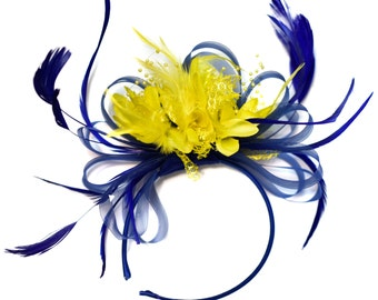 Royal Blue and Yellow Fascinator on Headband Alice Band UK Wedding Ascot Races Derby