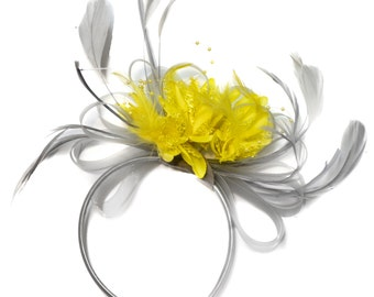 Silver Grey and Yellow Fascinator on Headband Alice Band UK Wedding Ascot Races Derby