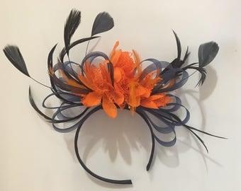 Navy Blue Hoop & Orange Feathers Fascinator On Headband