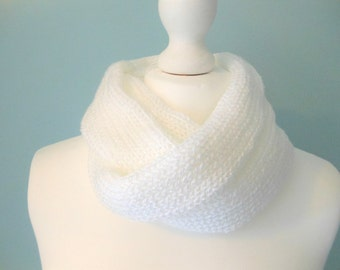 Knit infinity scarf, summer scarf, white scarf, unique handmade scarves, neck warmer, circle scarf, women's knitwear, 21st birthday gift
