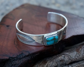 Silver Baby Cuff with Turquoise.  Handmade Sterling Silver Infant Bracelet . Made to Order