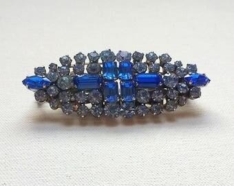 Art Deco Brooch Double Clip Duette Style Dress Clips Blue Vintage