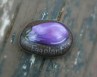 Eggplant Garden Marker Rock