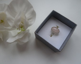 Sterling silver gallery wire ring with rose quartz