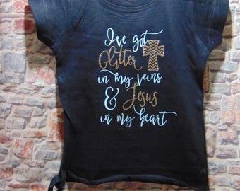I've got glitter in my veins Girl's sidetone shirt