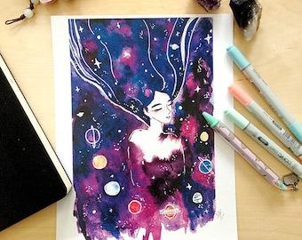 Galaxy Witch Watercolor Illustration Print