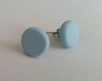 Polymer clay earrings- hot studs in palest of pale blue