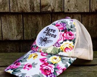 Flowet Hat, Bee Hat, Flower Trucker Hat, Flower Baseball Hat, Floral Hat, Gardening Hat, Sun Hat, Summer Hat