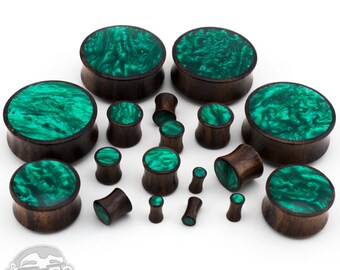 """Wood Plugs With Green Resin Inlay - Sizes / Gauges (4G up to 1 & 1/4""""Inch) - Sold in Pairs"""