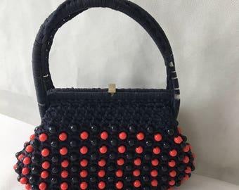 1950s  Blue beaded Bag