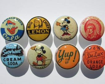 Vintage Soda Pop Bottle Cap Kitchen Cabinet Drawer Knobs Pulls Set of 8