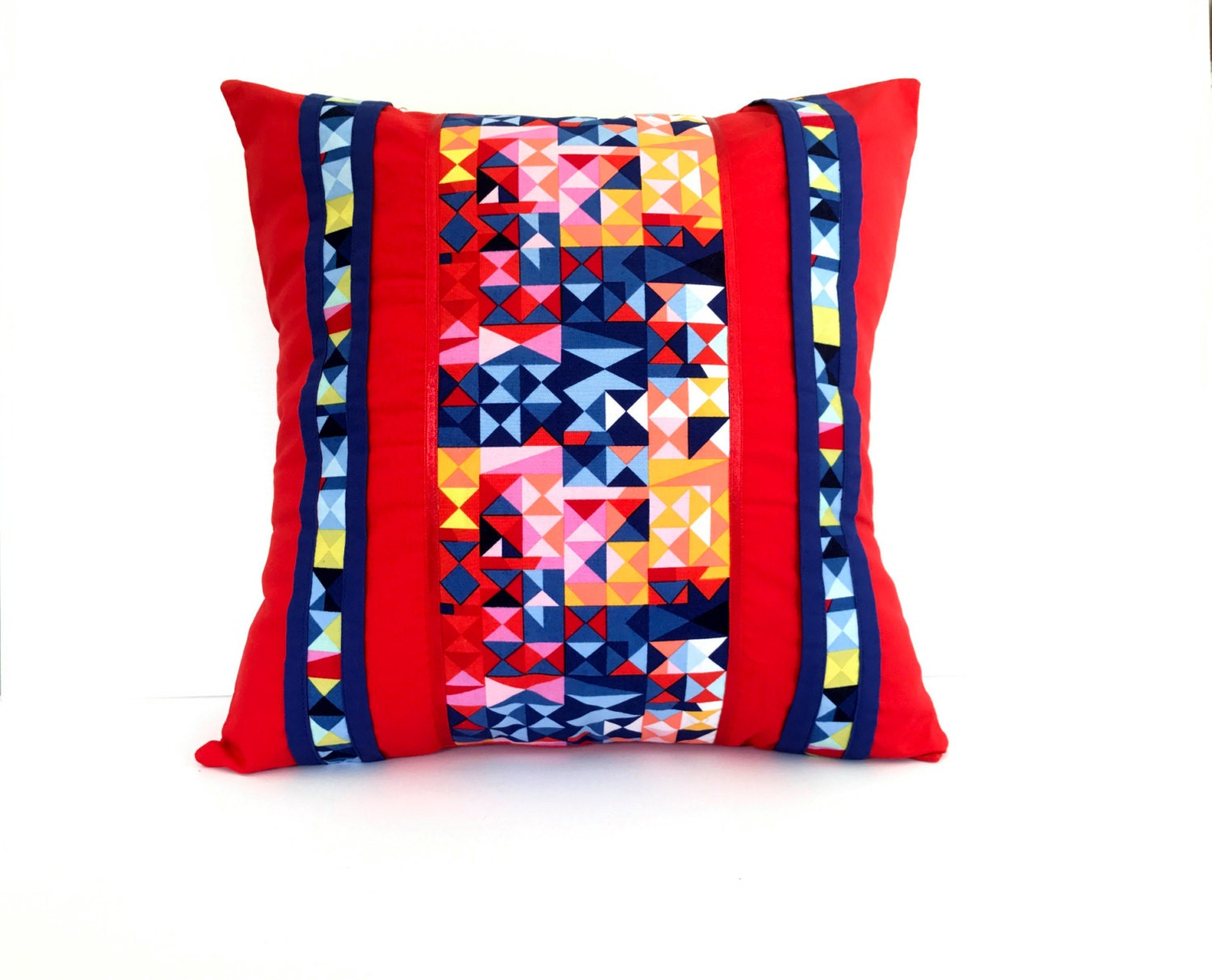 Red Geometric Decorative Pillow Cover Size 16 x