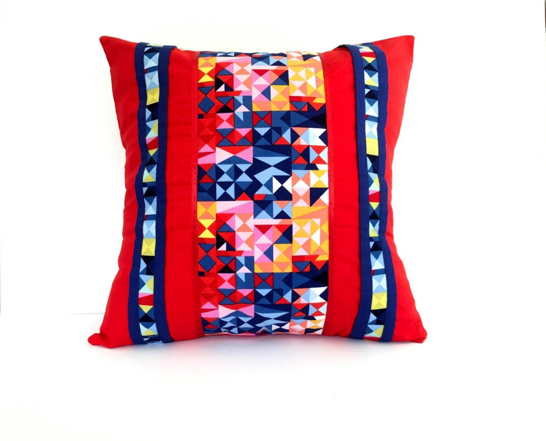 Decorative Pillow Cover Mcqueen Red Multi : Red Geometric Decorative Pillow Cover Size 16 x