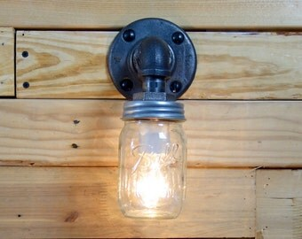 Clear 1 Pint Ball Mason Jar Wall Sconce Light Black Iron Industrial Steampunk Style