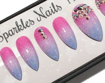 Crystal Press On Nails - Holographic Fake Nails - Pastel False Nails - Stiletto Artificial Nails - Ombre Acrylic Nails - Fairy Glue On Nails