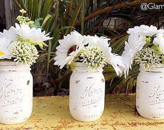 Distressed Mason Jars - Matte White, Matte Mason Jars, Mason Jar, Pint Size Mason Jar