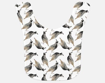 Quail print Baby Bib - watercolor quail bib, pacific northwest bib, forest baby bib, bird baby bib, hunting baby bib, wilderness baby bibs