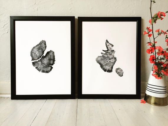 His and Hers art, 2 piece set, Juniper Tree Print, Tree ring art print, gift for guys, fathers day, dad gifts, Tree stump art, Tree rings