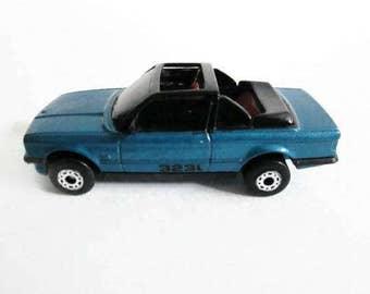 BMW 323i Cabriolet Matchbox Car, Metallic Blue Convertible Sedan, Vintage Toy
