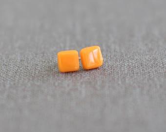 Orange Square Glass Stud Earrings - Orange Glass Sterling Silver Studs - Gift for her - Gift for Mum - UK Seller - Bridesmaid Gift