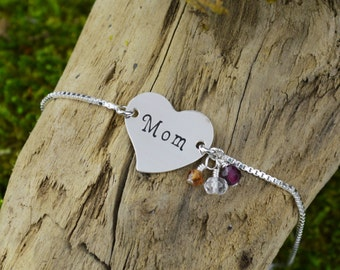 Personalized Heart Bracelet with Name and Birthstone // New Mom Gift // Mother's Bracelet // Handstamped Jewelry