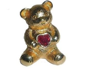 Valentines Teddy Bear HEART Lapel Pin or Tie Tack 80s Vintage AVON Love Bear Brooch Ruby Red Garnet Teddybear Teddie Broach Unisex Gift BFF
