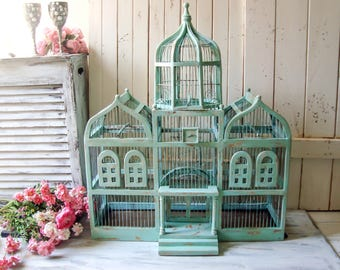 Sea Foam Large Dome Vintage Birdcage, Aqua Teal Distressed Big Triple Dome Bird Cage, Shabby Chic Centerpiece, Wedding and Event Decor