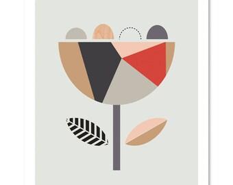 Scandi Flower (Red and Grey). Scandinavian Art, Geometric Art, Flower print, Scandinavian, Nursery decor, Nursery art.