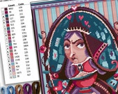 COUNTED STITCH pattern -Alice in wonderland - Lewis Carroll - Queen of hearts -PDF Instant download