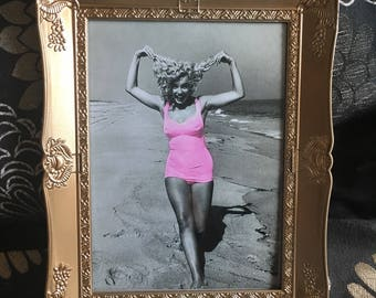 Marilyn Monroe pink bathing suit print in a gold frame  7x5""
