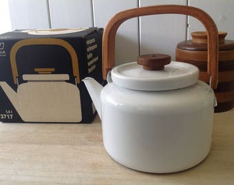 Finel Enamel- Teak handle Tea Kettle - In Original Box - Finella - Orvala Heikki for Arabia Finland - Rare - Mid Century Design Classic