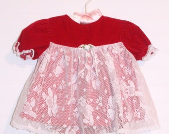 Vintage baby dress, Red Velvet, Evy sz 6-9 mo WITH bloomers