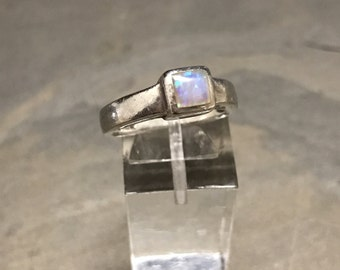 Size 6.5, Vintage Sterling silver handmade ring, Mexico 925 silver with Mexico opal stone ring, stamped 925 MF