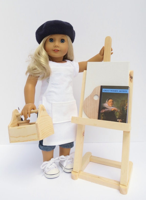 DOLL ART SET for American Girl ®, 18-inch Dolls with Easel, Apron, Palette, Paint Brushes, Paint Pots, Caddy and more