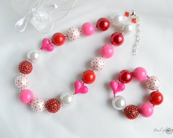 Valentine's Day red pink heart chunky necklace bracelet baby girl toddler adult women statement bubblegum necklace first birthday gift photo
