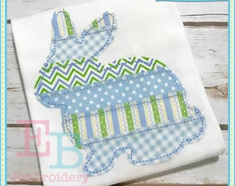 Strip Patchwork Bunny Applique - This design is to be used on an embroidery machine. Instant Download